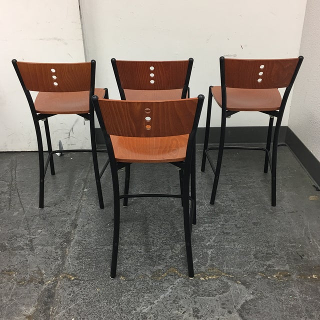 Contemporary Wood & Metal Counter Stools - Set of 4 - Image 5 of 8