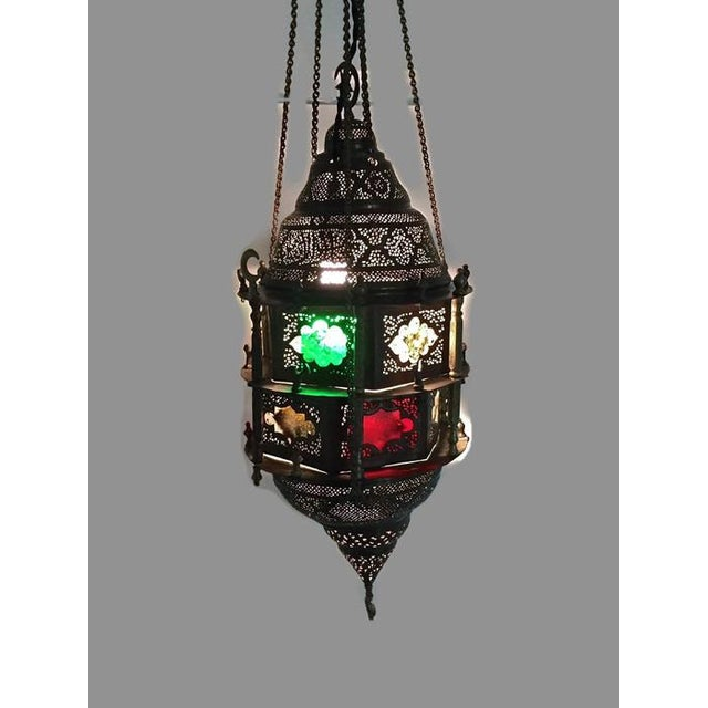 Antique Turkish Pierced Brass Pendant Lamp - Image 8 of 10