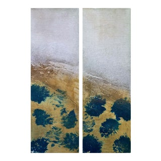 Drops of Jupiter Diptych Modern Abstract Textured Small Art Painting Set - a Pair