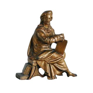 Vintage Renaissance Man Statue Bookend