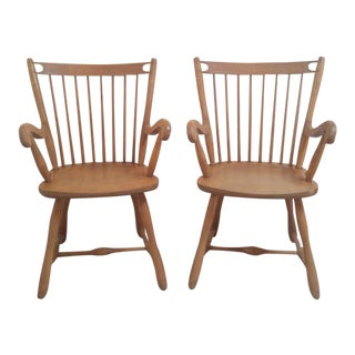 Mid-Century Beech Wood Windsor Spindle Armchairs - A Pair