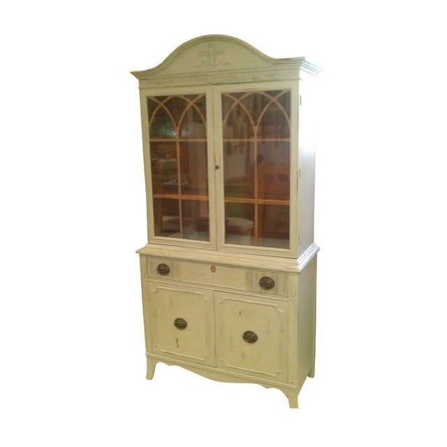 vintage china cabinet shabby chic style chairish. Black Bedroom Furniture Sets. Home Design Ideas
