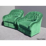 Image of Vintage Pair of Mid Century Modern Tufted Green Velvet Swivel Club Chairs