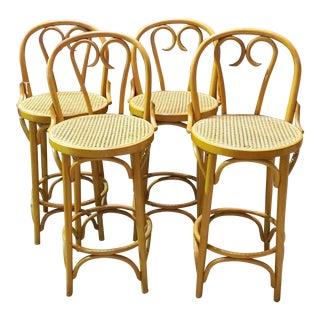 Set Of 4 Vintage Thonet Style Bentwood Barstools