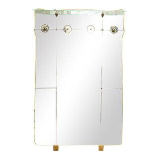 Vintage Italian Full Length Mirror with Shelf & Hooks After Fontana Arte