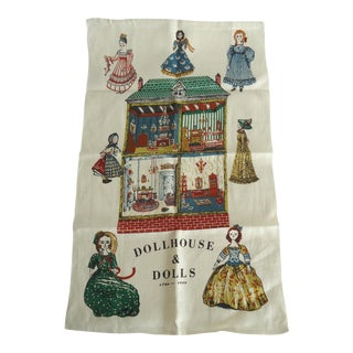 Vintage Linen Antique Doll Print Tea Towel