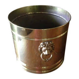 Vintage Brass Planter With Lion Head Pulls