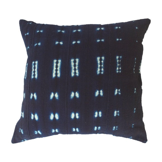 Vintage Indigo African Mud Cloth Pillow - Image 1 of 3