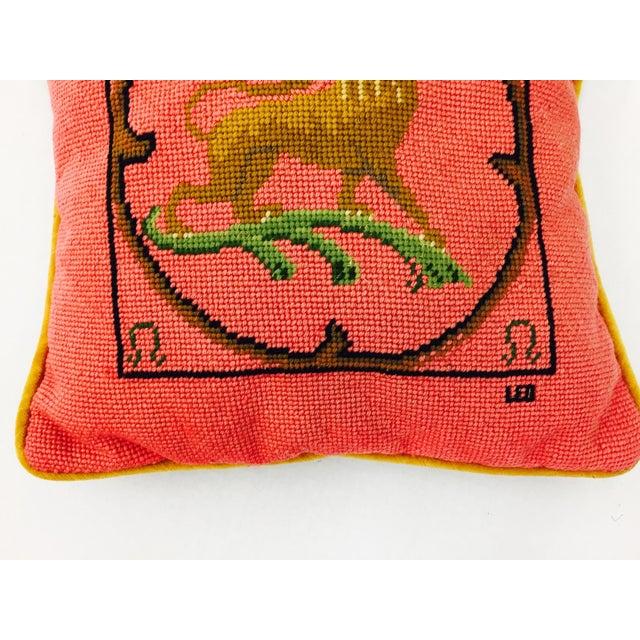 "Vintage Needlepoint ""Leo"" Lion Pillow - Image 4 of 7"