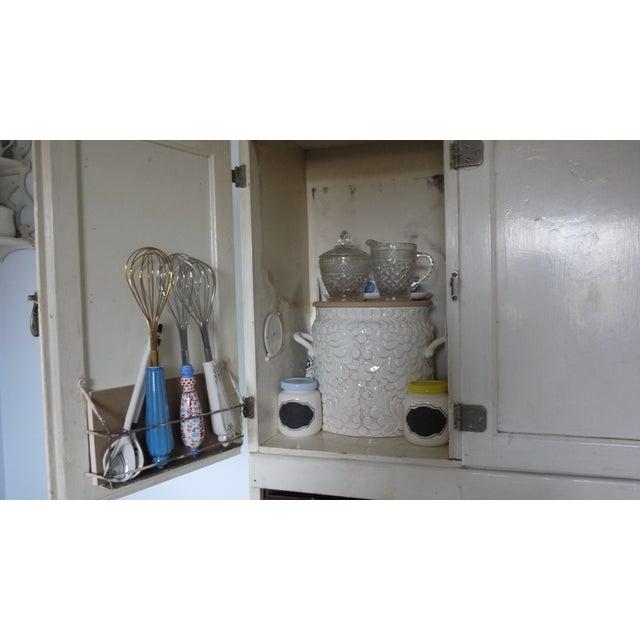 Image of Mid-Century White Wood Hoosier Potting Cabinet
