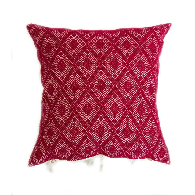 Red Diamond Handwoven Mexican Pillow - Image 1 of 4