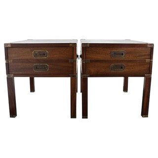 Campaign Walnut Nightstands - A Pair