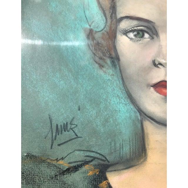 Vintage Chalk Pastels Female Portrait Drawing - Image 8 of 9