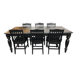 Pottery Barn Francisco Black Table & Six Chairs - Dining Set