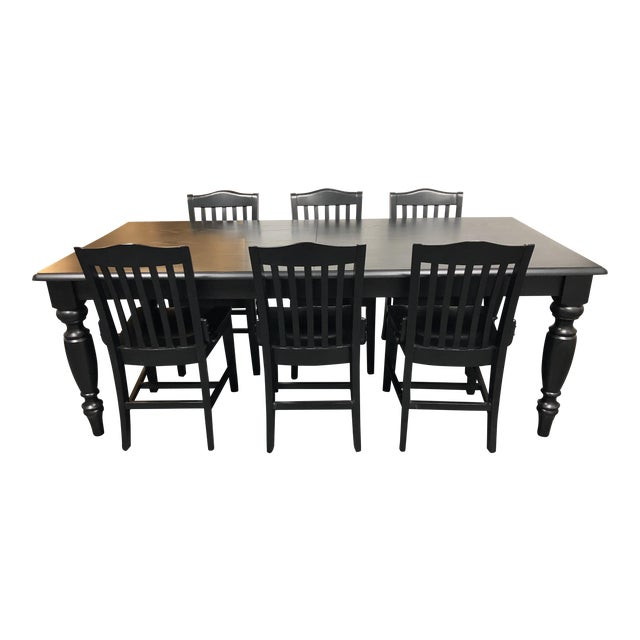Pottery Barn Francisco Black Table & Six Chairs - Dining Set - Image 1 of 8