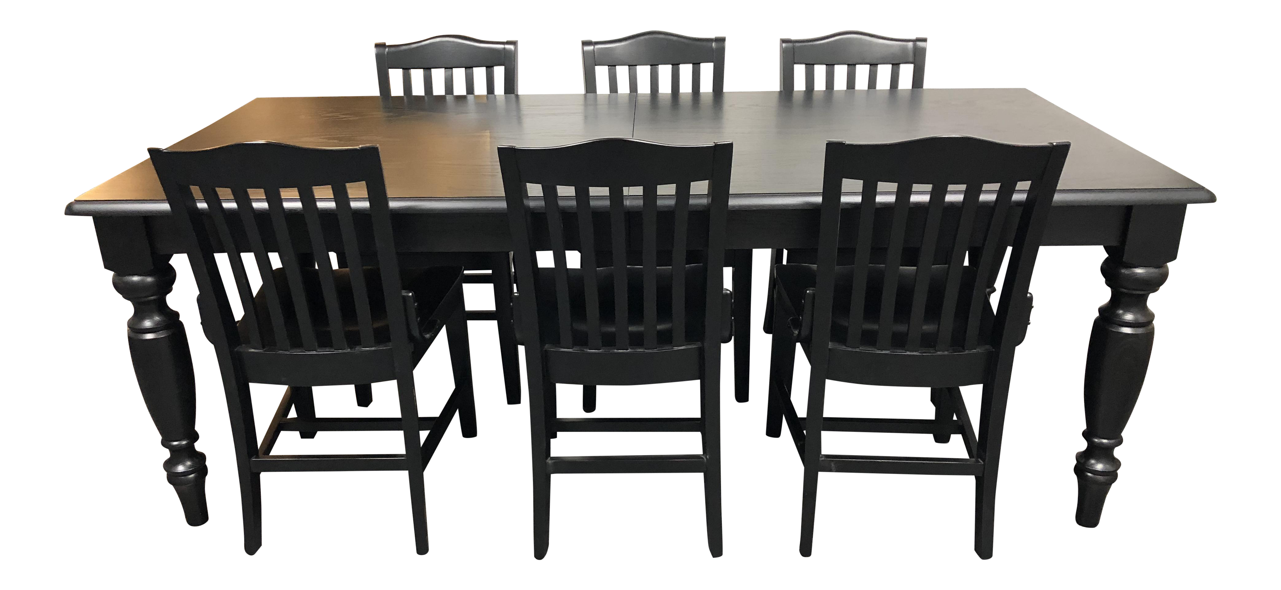 Pottery Barn Francisco Black Table U0026 Six Chairs   Dining Set