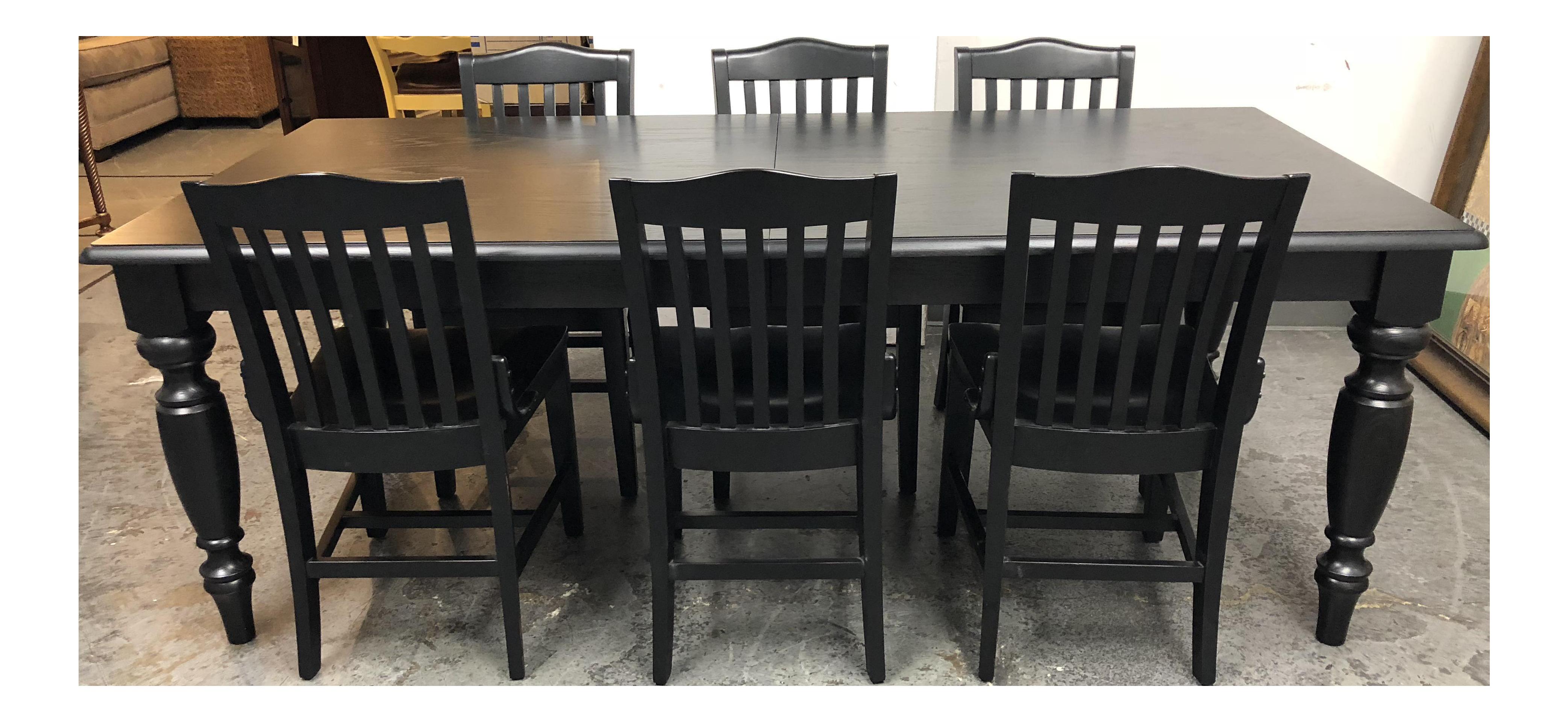 Pottery Barn Francisco Black Table U0026 Six Chairs   Dining Set