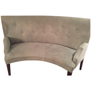 Mitchell Gold Tufted Suede Mint-Colored Bench