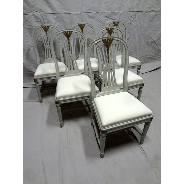 Swedish style wood back dining chairs set of 6 chairish for Swedish style dining chairs