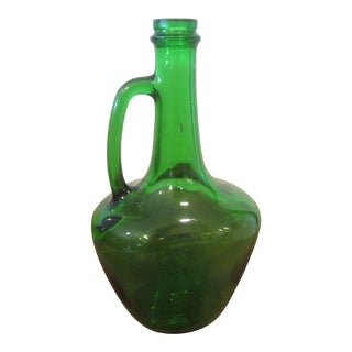 Mid Century Green Glass Wine Jug