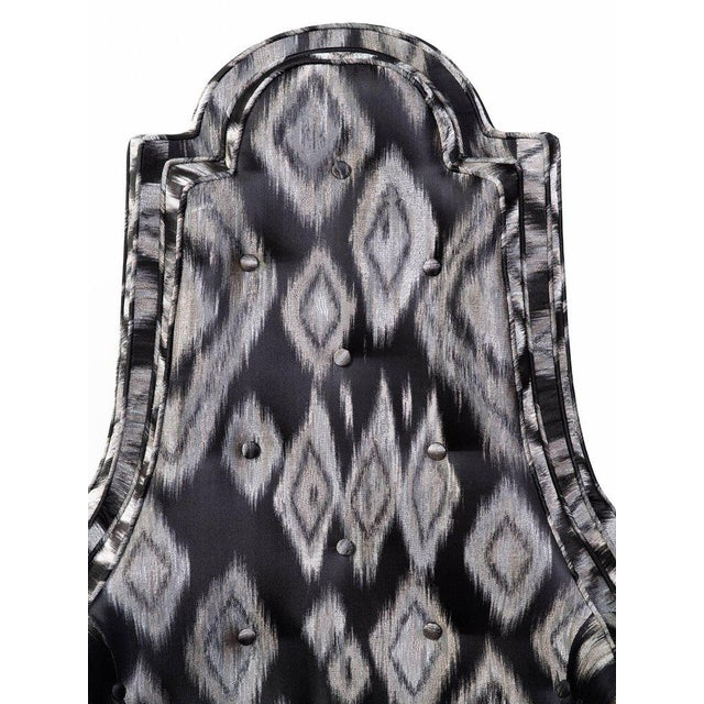 Pair of Hollywood Regency Lounge Chairs in Graphic Ikat Silk - Image 9 of 9