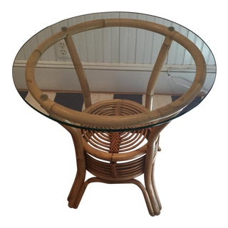 Round Bent Wood Side Table With Glass Top