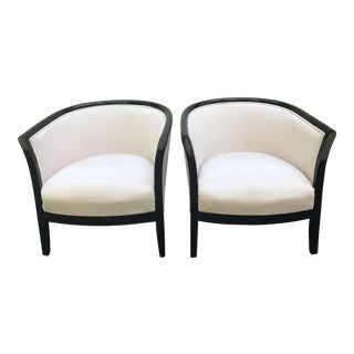 Blush Club Chairs With Black Lacquer Frame - Ward Bennett Style - a Pair