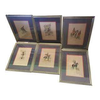 6 Matching Antique French Military Prints Hand Colored Eugene Titeux