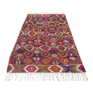 Vintage Turkish Kilim Rug - 5′4″ × 9′3″