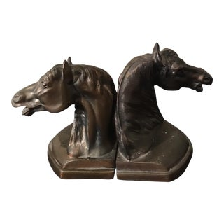 Vintage Bronze Horse Bust Bookends - A Pair