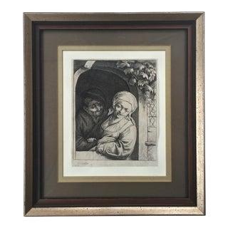 Antique Dutch 'Village Romance' Etching 1667 by Adrian Van Ostade
