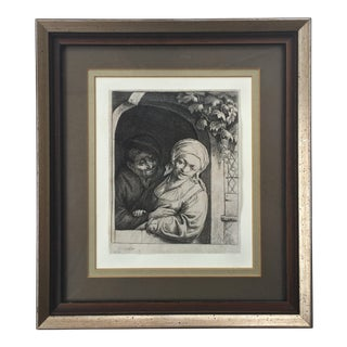 Antique Dutch 'Village Romance' Etching by Adrian Van Ostade