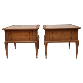 Weiman Travertine and Burled Mahogany End Tables