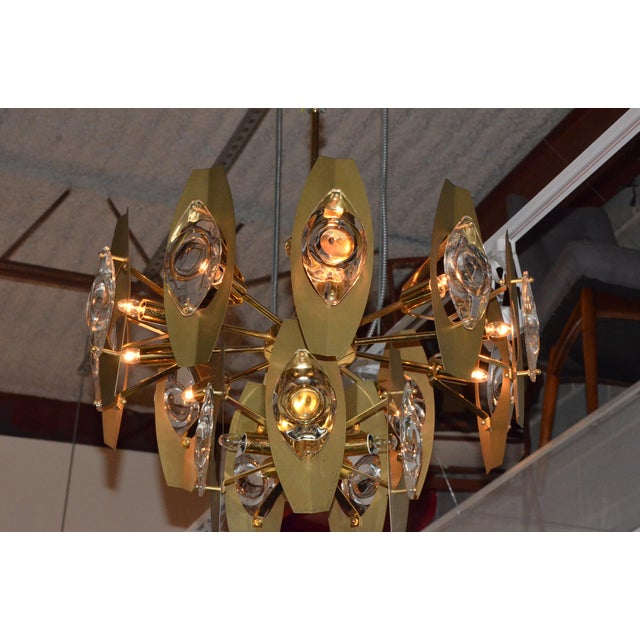 Brutalist Sonneman Brass and Cut Glass Chandelier - Image 3 of 6