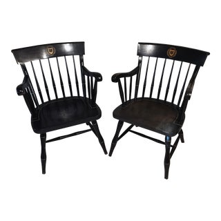 Vintage Handcrafted Black and Gold Maple Yale Captain's Chair - A Pair