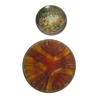 Boho Copper Enamel Bowls - A Pair