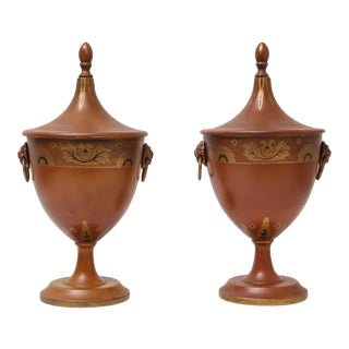 Antique Continental Tole Ware Chestnut Urns - A Pair