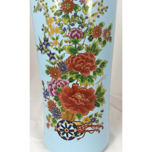 Chinoisere Blue Vase Made in Japan - Image 3 of 5