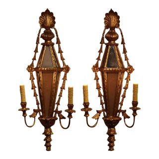19th Century French Louis XVI Gilt & Mirrored 2-Light Carved Sconces - A Pair