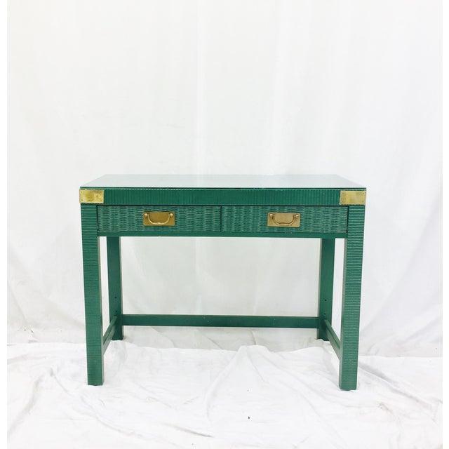 Vintage Mid-Century Campaign Green Desk - Image 2 of 11