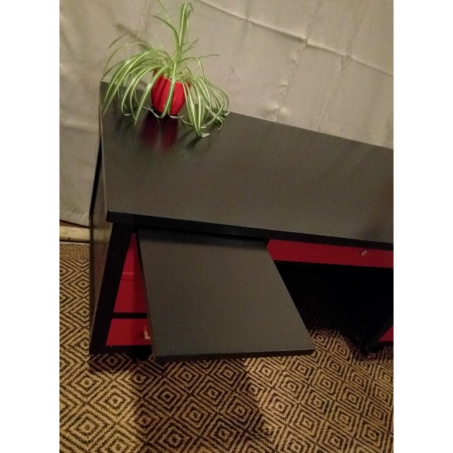 Mid-Century Black & Red Solid Wood Desk - Image 4 of 11