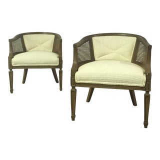 Vintage Barrel Accent Chairs - A Pair