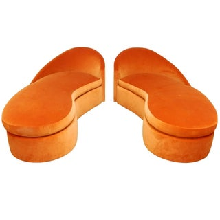 Orange Vladimir Kagan Style Cloud Sofas - A Pair