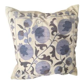 Blue & Ivory Suzani Throw Pillow