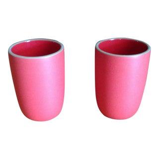 Red Heath Ceramic Cups - A Pair