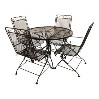 Black Outdoor Heavy Iron Round Dining Table & Chairs - 5 Pieces