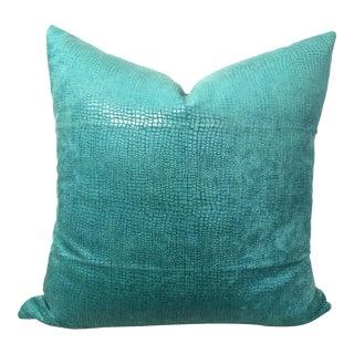 Turquoise Alligator Velvet Pillow