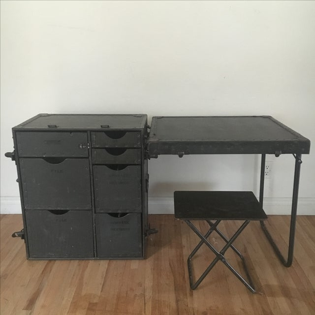 Military Secretary Fold Out Desk Trunk With Stool Chairish