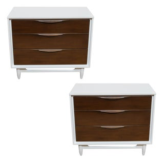 Mid-Century Glossy White & Brown Chests - A Pair
