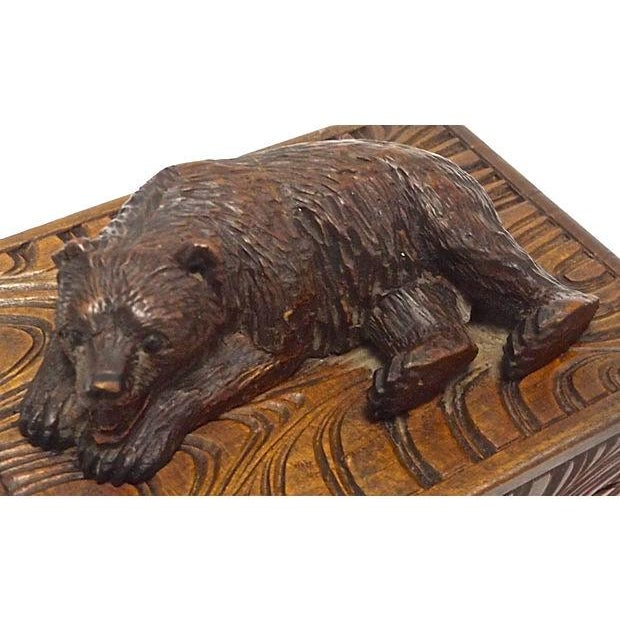 Image of Antique Black Forest Carved Bear Box